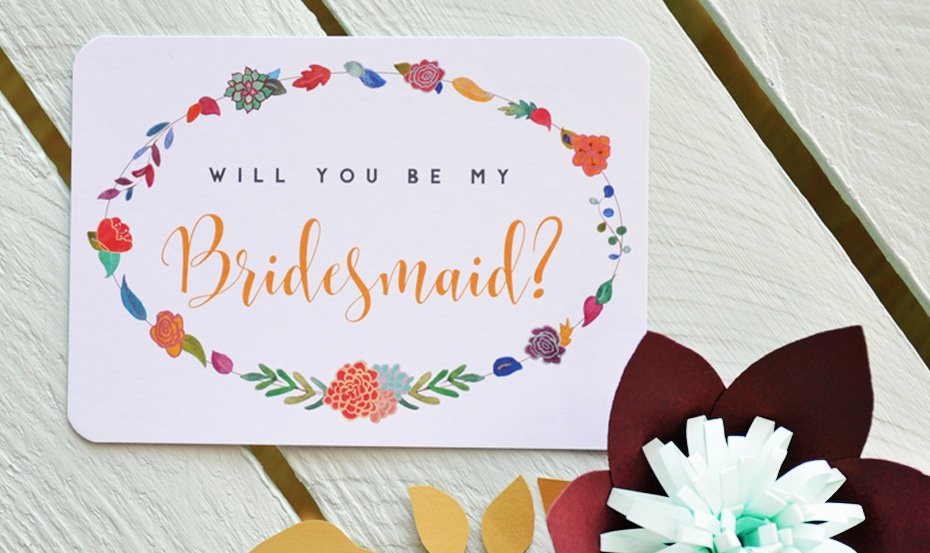 Garland Bridal Party postcard