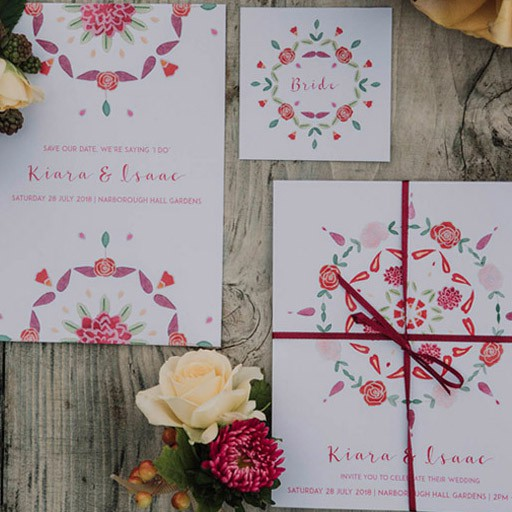 Indian Boho wedding stationery collection