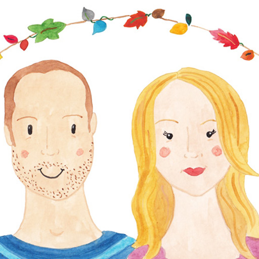 Jayne and Dan watercolour couples portrait with garland