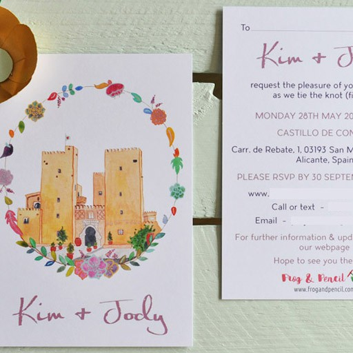 Spanish castle wedding invitation