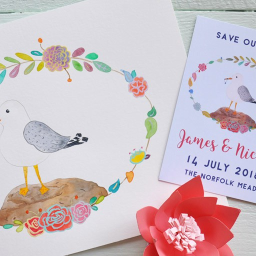 Save the date with seagull illustration
