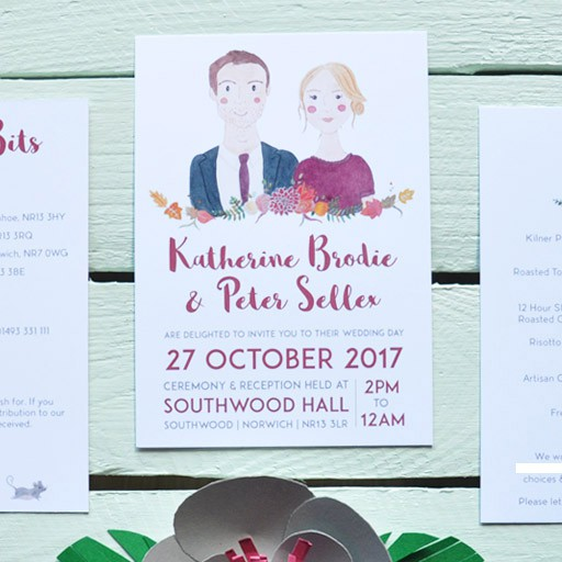 Three-piece wedding invitation