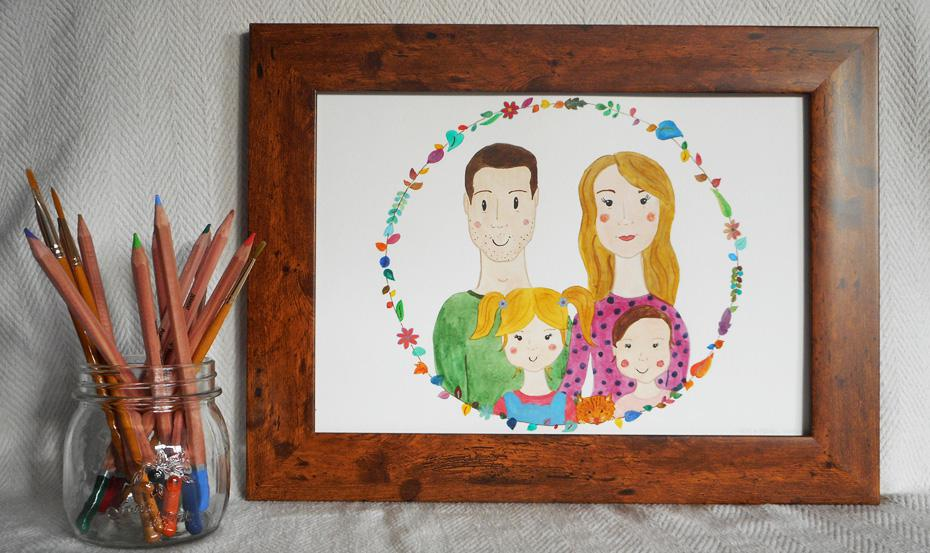 Framed Family Portrait with cat