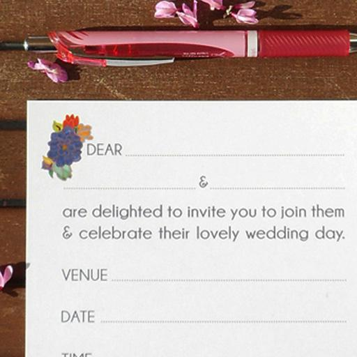 Ready-to-Write Lovebirds wedding invitation reverse text