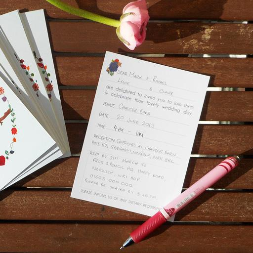Ready-to-Write Lovebirds wedding invitations being handwritten