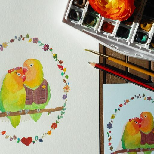 Ready-to-Write original Lovebirds watercolour wedding illustration