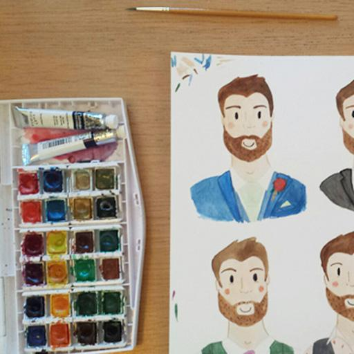 Four brides and four grooms watercolour portraits process